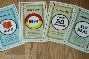 Instructions for using action cards are provided on the cards themselves. No back and forth between game parts and the rules.
